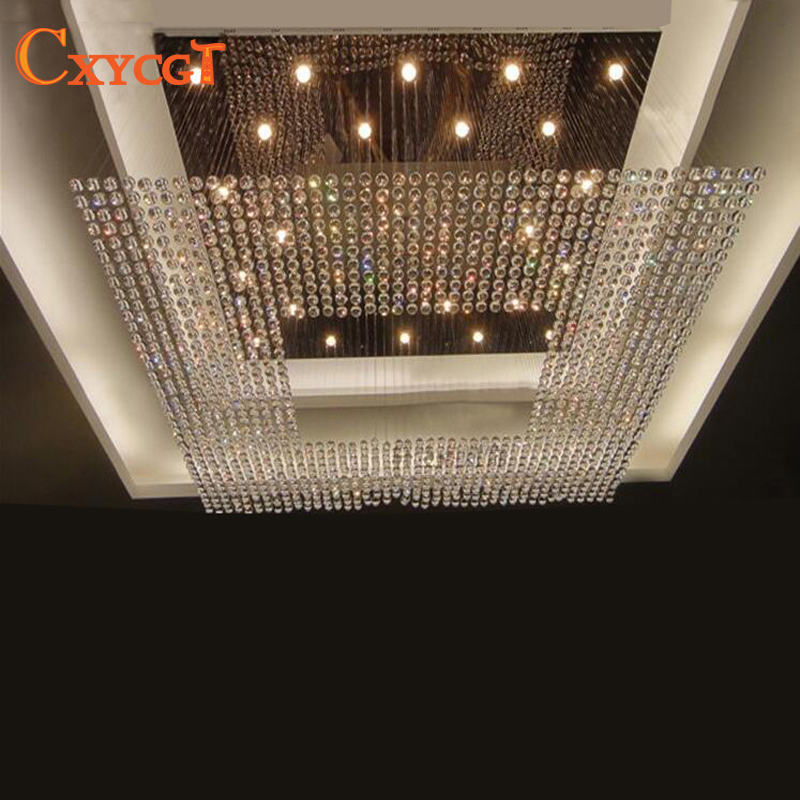 купить new square modern string big crystal chandelier hotel lobby chandelier lighting free shipping по цене 43682.95 рублей