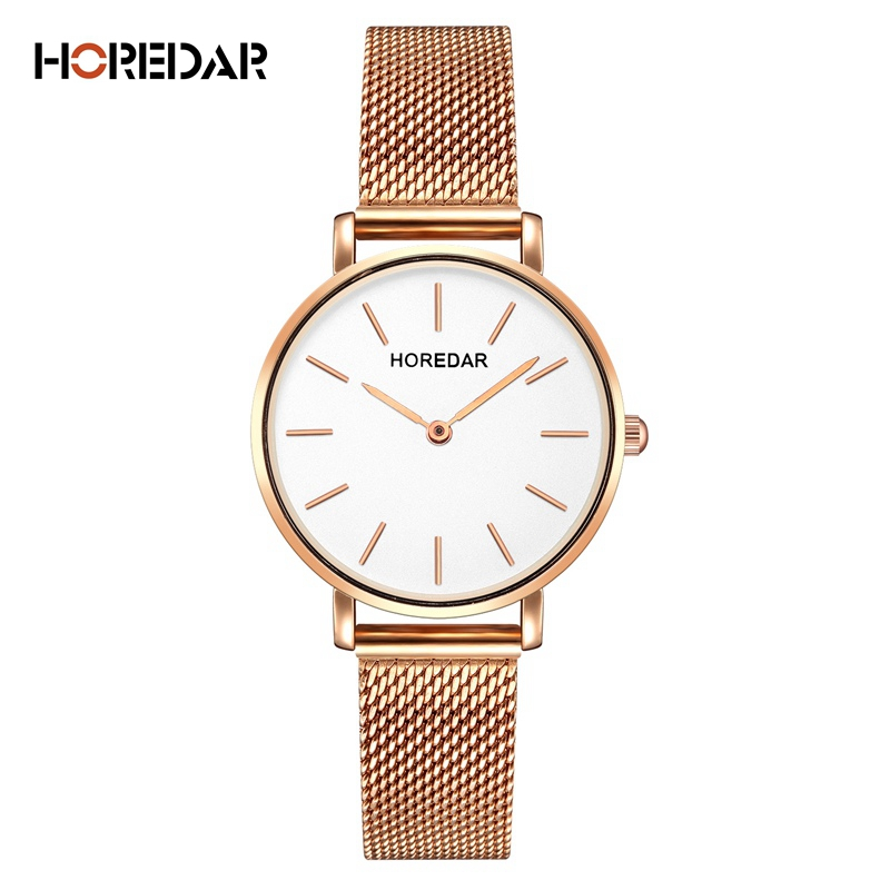 HOREDAR Luxury Steel Mesh Women Watch Ladies Ultra Thin Stainless Steel Band Quartz Wristwatch Fashion Female Clock Hot Relogio shifenmei 2136 ultra thin smart steel band watch