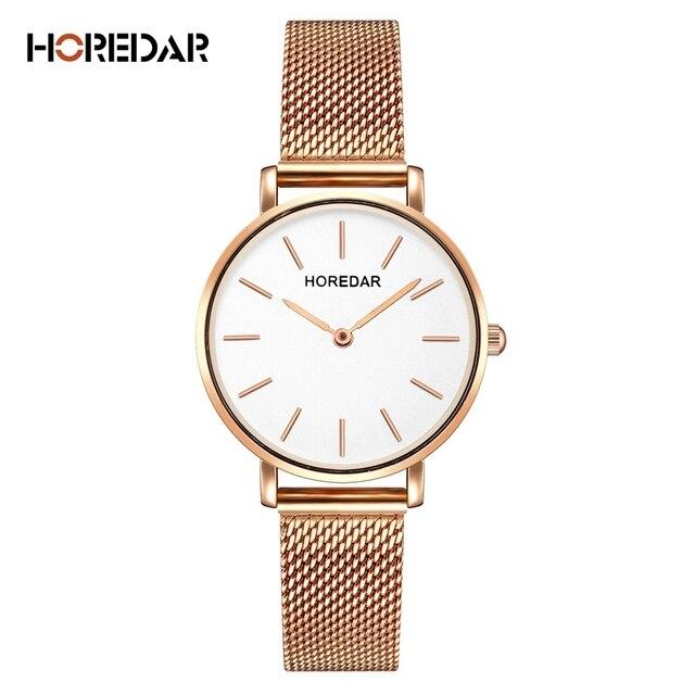 Horedar Роскошные Сталь сетки Для женщин часы дамы ультра тонкий Нержавеющаясталь наручные часы модные женские часы Горячие Relogio