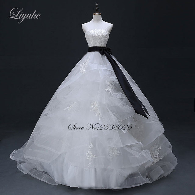 Liyuke Vestido De Noiva Black Sash Princess Ball Gown Wedding Dress