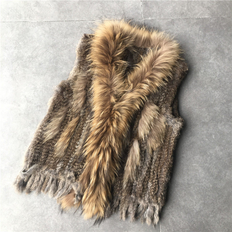 VR032-QC women natural real rabbit fur vest waistcoat/jackets rabbit knitted winter warm coat