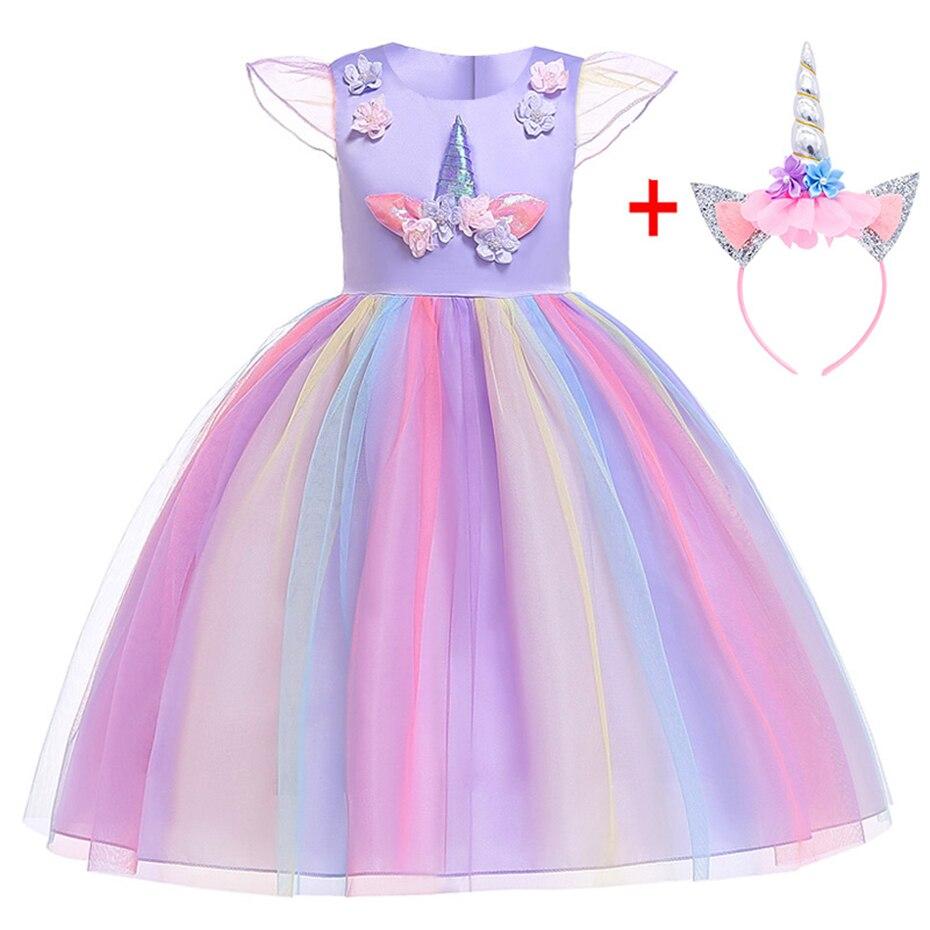 Brithday Dress Fancy Girls Christmas Dress Unicorn Party Flower Girl Dress Elegant Cinderella Costumes Summer Dresses