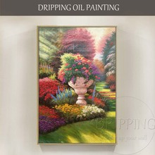 High Skills Artist Hand-painted Quality Beautiful Garden Landscape Oil Painting on Canvas Vivid Colors