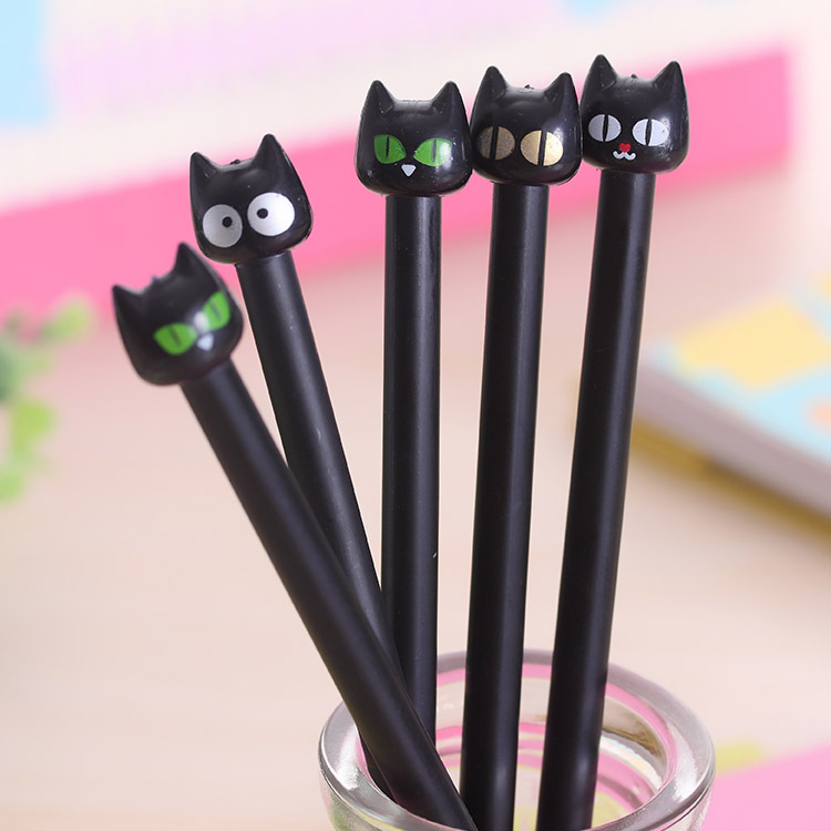1 pcs Cute Korean Stationery Sweet Black Cat Black Ink Gel Pens boligrafos kawaii pens for school Office papelaria 0.38mm шариковая ручка boligrafos marca