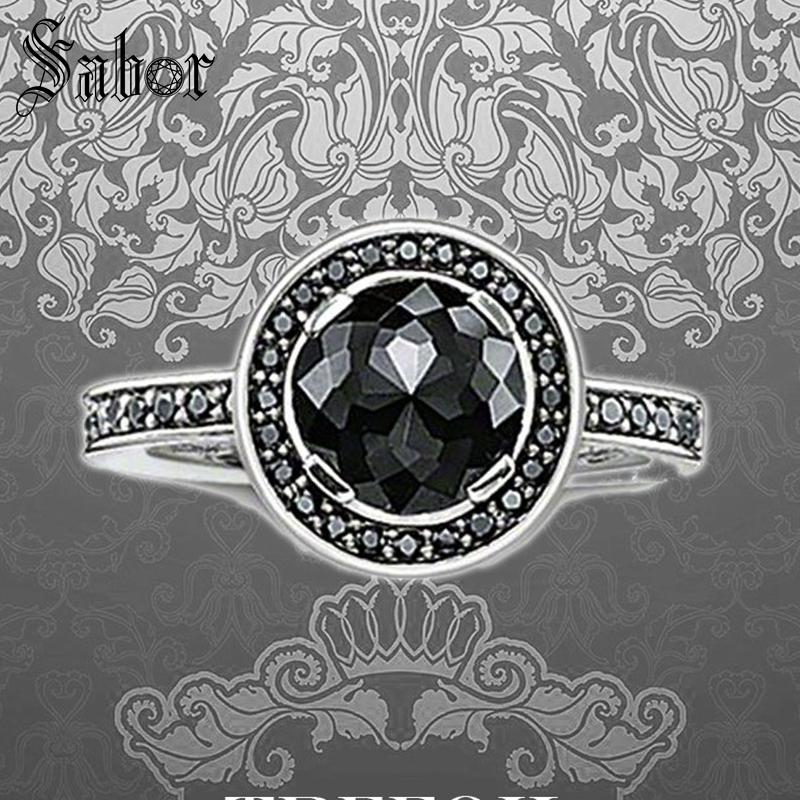 Black Round Crystal Wedding Bands Rings 925 Sterling Silver Fashion Jewelry Romantic Party For Women Girls 2019 Alliance thomas