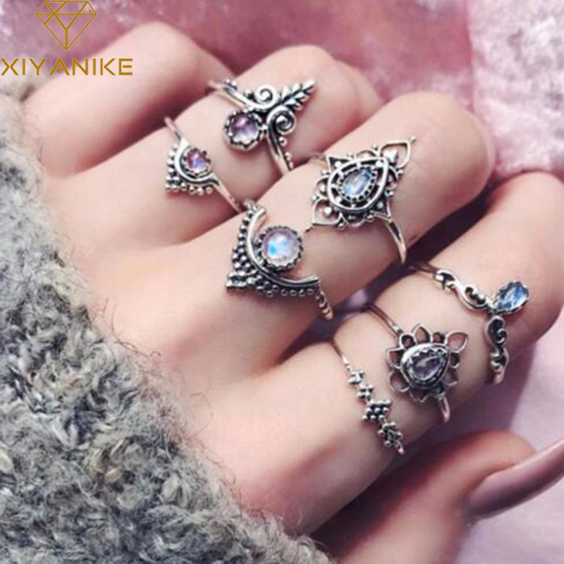 XIYANIKE Bohemian Ethnic 7pcs/Set Vintage Crystal Knuckle Midi Rings Sets for Women Antique Silver Boho Jewelry Anillos R148