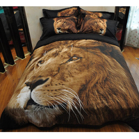3pcs Sexy Fashion Big Lion Animal Double Queen Size Quilted Coverlet Set Thin Comforter 2 Pillowcases