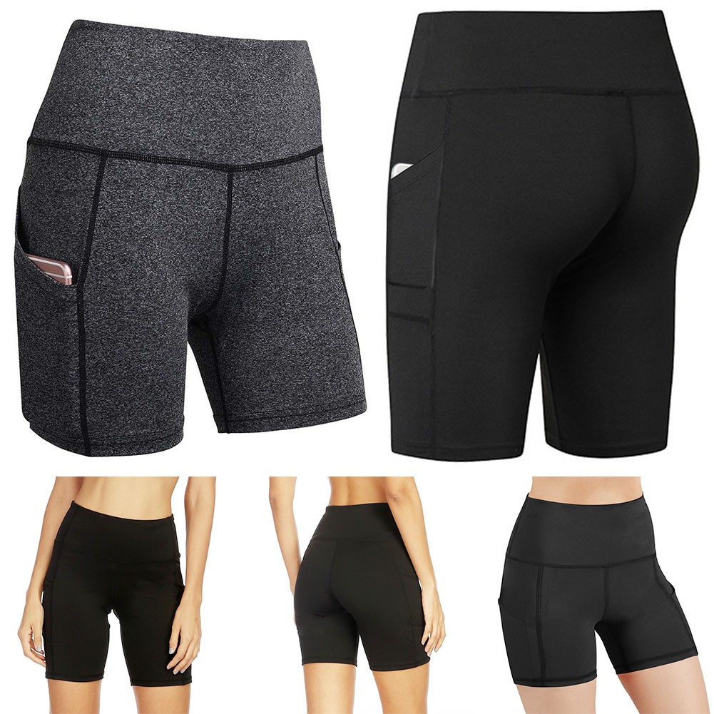 Women Shorts With Pocket Casual High Waist Elasticity Breathable For Yoga Sport Running KH889