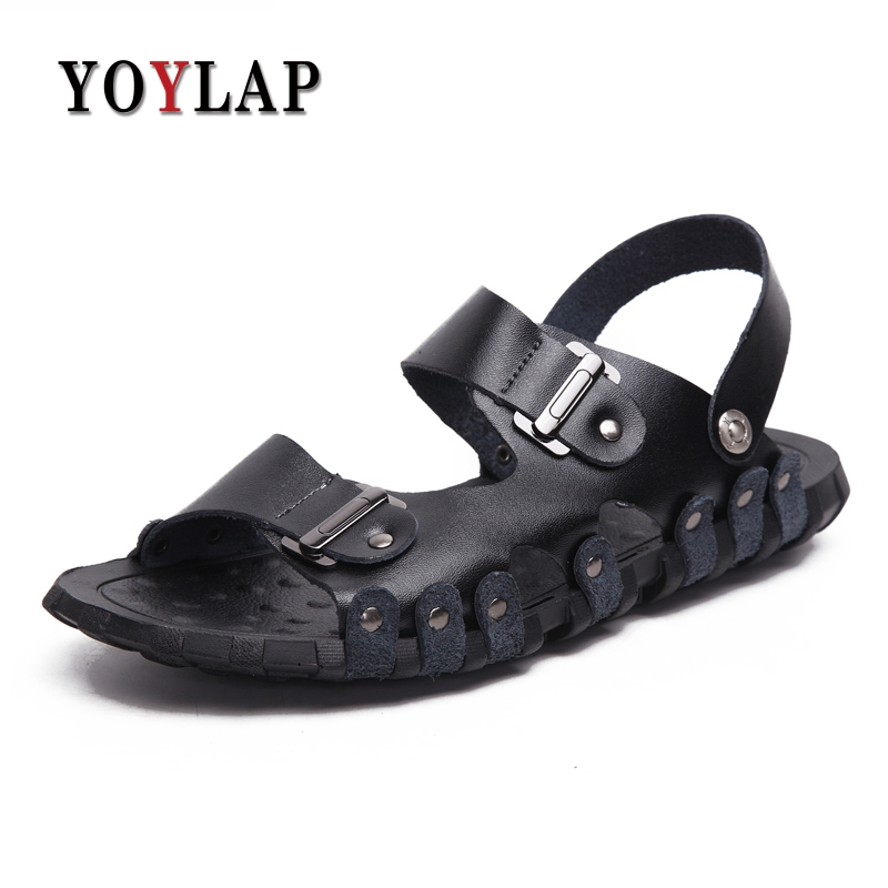 2018 England high quality Leather Men Sandals Black Brown Handmade Men Summer Shoes Breathable Beach Shoes