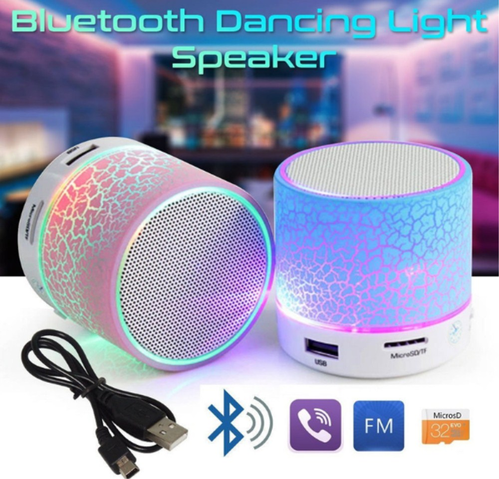 led portable mini bluetooth speakers wireless hands free speaker with tf usb fm microphone. Black Bedroom Furniture Sets. Home Design Ideas