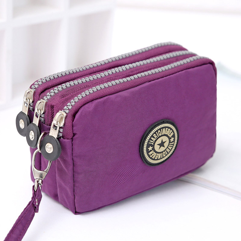 Coin Purse Women Small Wallet Washer Wrinkle Fabric Phone Purse Three Zippers Portable Make Up bag Mujer Monederos Para Monedas billetera sailor moon