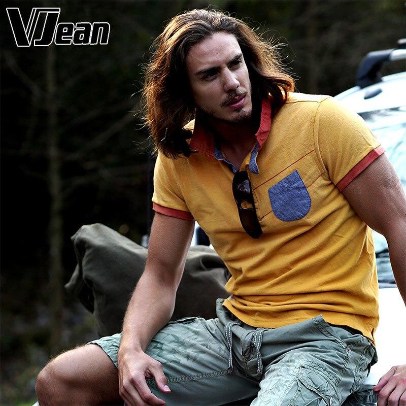 V JEAN font b Men s b font Heavy Washed Knit Jean Poto font b Shirt