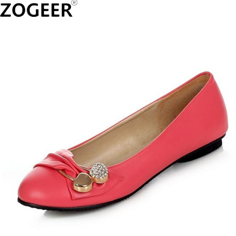 Plus Size 47 Sweet Women Flats 2017 Spring Autumn Loafers Flat Shoes Woman Casual Nurse Work Ballet Shoes Women Black Red White 2018 new genuine leather flat shoes woman ballet flats loafers cowhide flexible spring casual shoes women flats women shoes k726