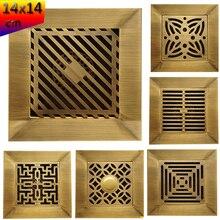 Floor-Drain Bathroom Large-Flow Square Brass Antique Art 6-Models 14cm Carved