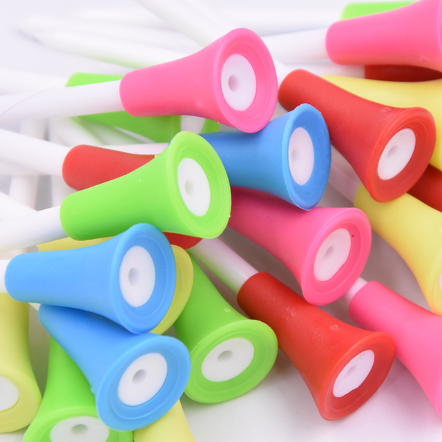 30PC Multi Color Plastic Golf Tees 83mm Durable Rubber Cushion Top Golf Tee 4