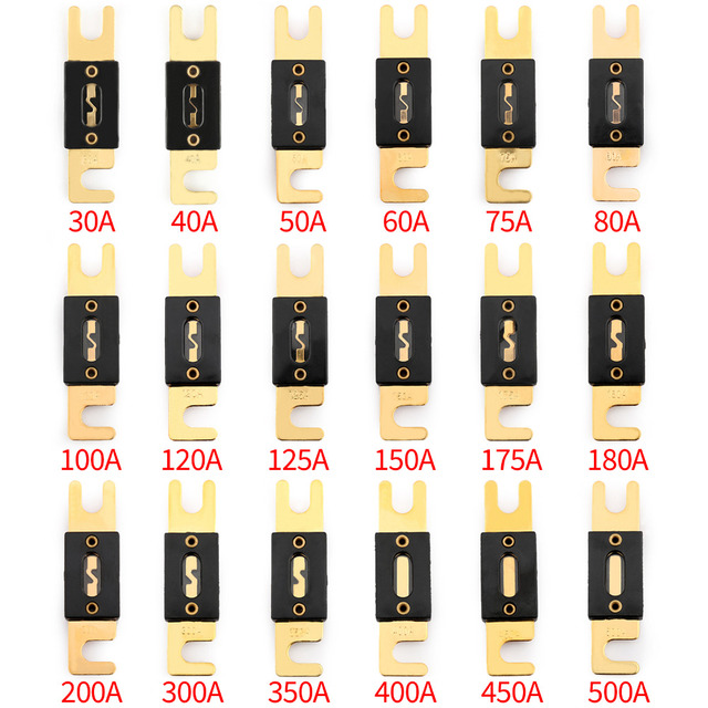 Areyourshop Fuse 30A-500A AMP ANL Type Gold Plated Blade Fuses For Auto Car Stereo Audio Wholesale 2PCS Fuses Connector