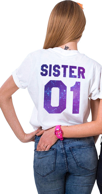 2400224b Gift for Sister Matching Sister 01 02 Shirts Girls Bff T-Shirt Femme ...