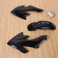 7 ADET BISIKLET Çamurluk Siyah Plastik Fairing Pit Dirt Bike Plastik çamurluk MOTO Honda CRF 50 CRF için Fairing Setleri Kapakları 125