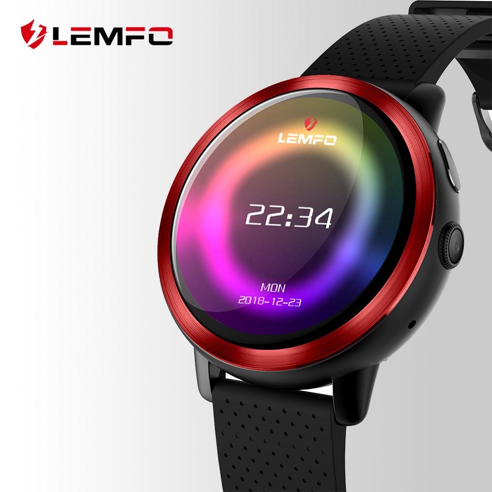 LEMFO LEM8 di Lusso 4g Astuto Della Vigilanza del Android 7.1.1 2 gb + 16 gb GPS 2MP Macchina Fotografica 1.39 pollice AMOLED schermo 580 mah Batteria Smartwatch Uomini