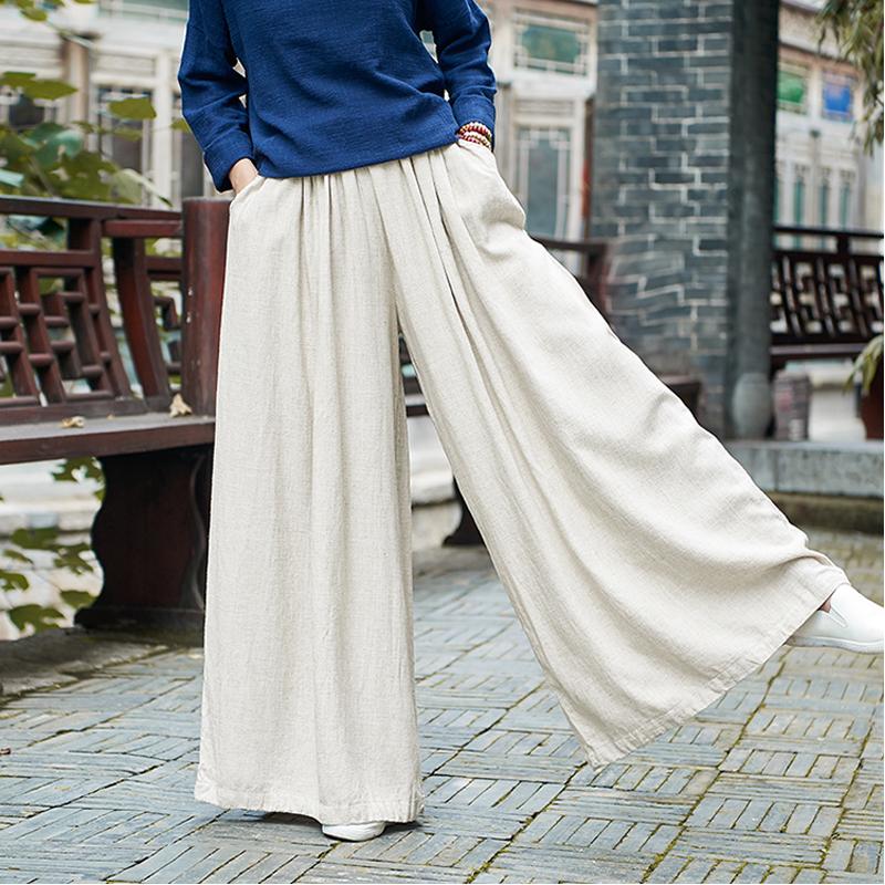 Women Linen Wide Leg Pants Elastic Waist Autumn Winter New Pockets Plus Size Women Clothing Loose Vintage Trouser