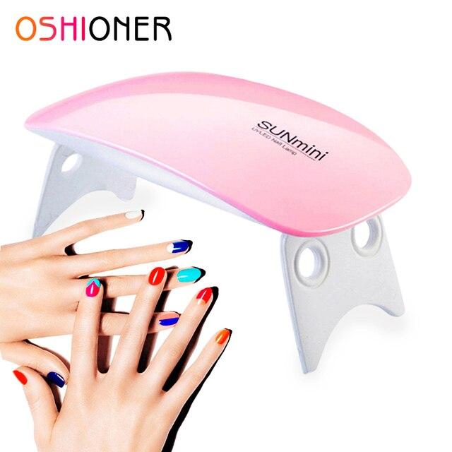 OSHIONER portátil Mini 6 W lámpara LED secador de uñas carga USB 30 s 60 s temporizador luz LED secado rápido uñas Gel manicura para arte de uñas