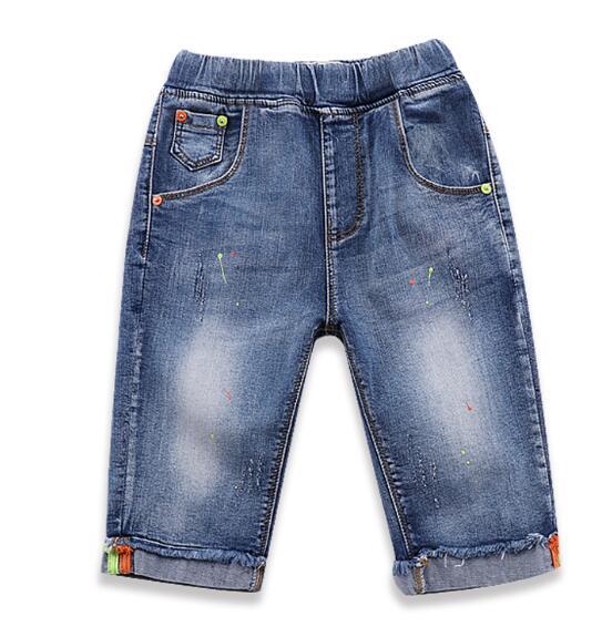 Мальчик Шорты с принтом в горошек джинсовые шорты Летняя одежда для мальчиков Горячие распродажа, модная обувь прямые Штаны мыть 5 POCKET джинс...