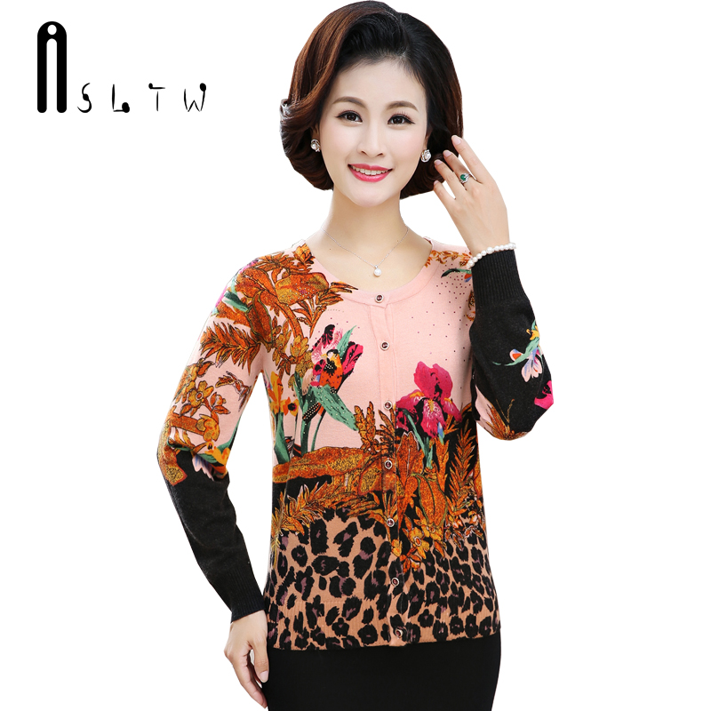 ASLTW Female Cardigan New Fashion Print Floral Long Sleeve Soft Sweater For Women Plus Size Single