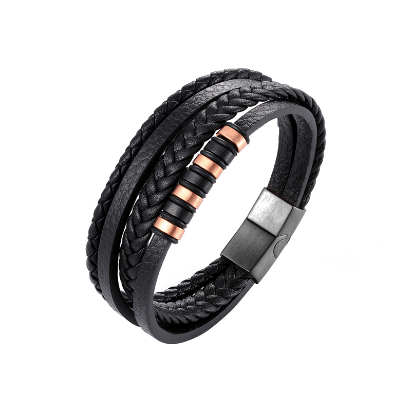 Womens Bracelet Classic Genuine Leather Bracelet for Men Hand Charm Jewelry Multilayer Magnet Handmade Gift for Cool Boys