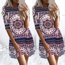 Women Summer Boho Chic Vintage Floral Print Bohemian Sexy Casual Midi Sleeve Short Dress New Arrival