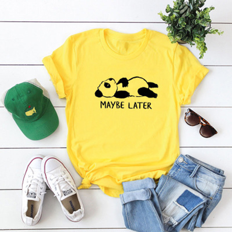Summer Short Sleeve Funny For Women MAYBE LATER Letters Print   Blouse   Casual Kawaii Top Tees Fashion Tee   Shirt   Bigsweety