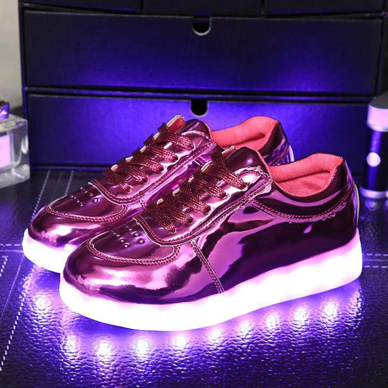 2018 Fashion Girls Light Up Led Luminous Shoes Color Glowing Casual With New Simulation Sole Charge For Boys Kids Neon Children ...
