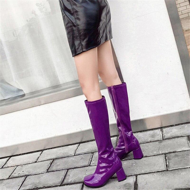 Botte Étanche Femmes Haute purple Verni Pluie Taille Équestre Automne Bottes P36 Chaussures En De Black blue Dame Cuir Hauts P36 Femelle Zip Genou P36 D'équitation Talons vYqfvw