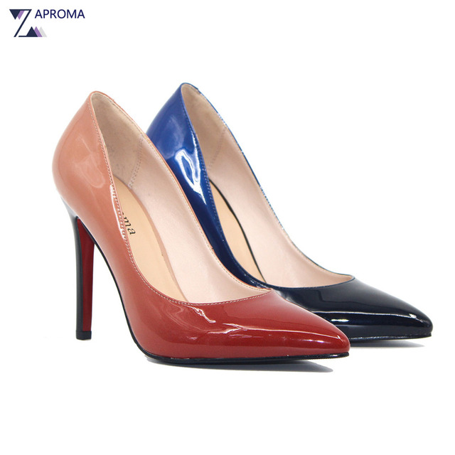 12f62441e490 Women Evening Shoes Brick Red Pink Royal Blue Gradient Pumps Slip On Super  High Heel 2018 Spring Ladies Wedding Party Tacones