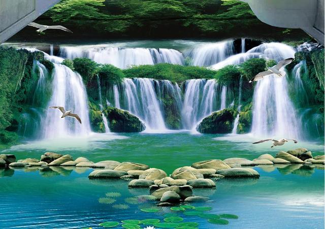 Vinyl Flooring Waterproof Custom 3d Floor Waterfall Green Forest Bedroom Wallpaper Pvc