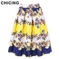 CHICING Mujeres de la Alta Cintura Del Color Del Bloque Plisado Floral Falda de Midi 2016 High Street Fashion Ladies Básicos Saia Femininas A1610003