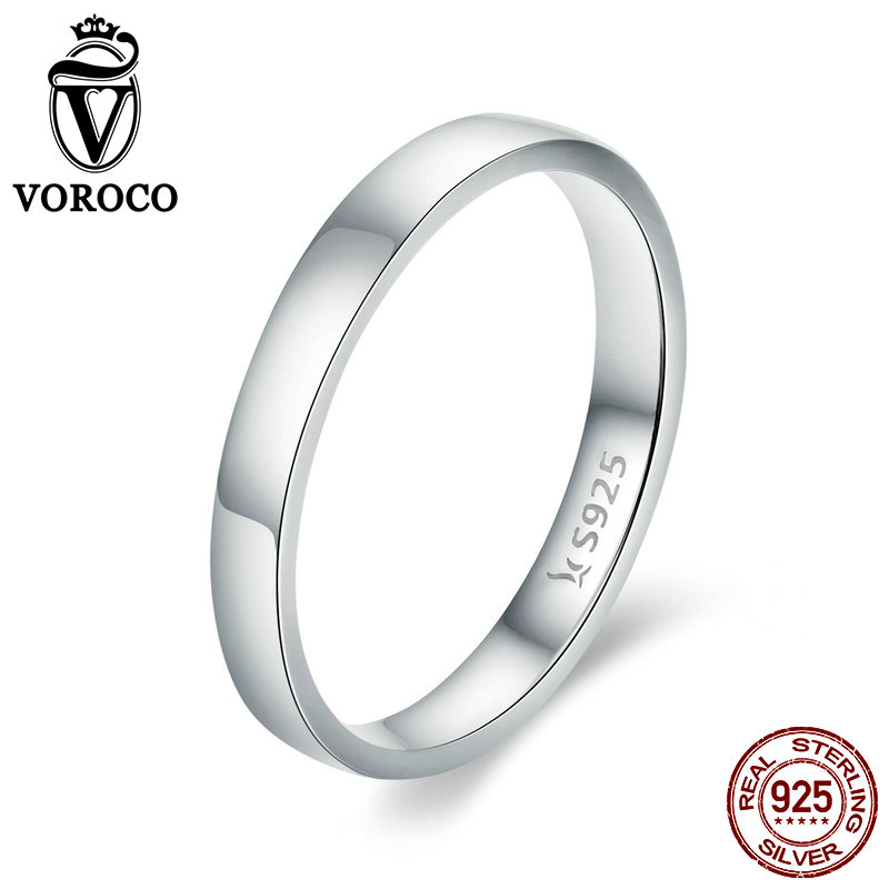 VOROCO Pure 925 Sterling Silver Simple Ring Simple Plate Platinum Anniversary Wedding Rings Woman Lover Fine Jewelry Gift BKR343