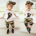 2015 summer 0 - 3 child children boys clothing Camouflage short-sleeve harem pants capris Short-sleeved suit