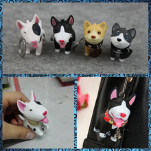 Free shipping Cute Dogs Mini PVC Figure 1pc pocket toy Akita Bull Terrier keychain bag hanger party favor supply kids gifts