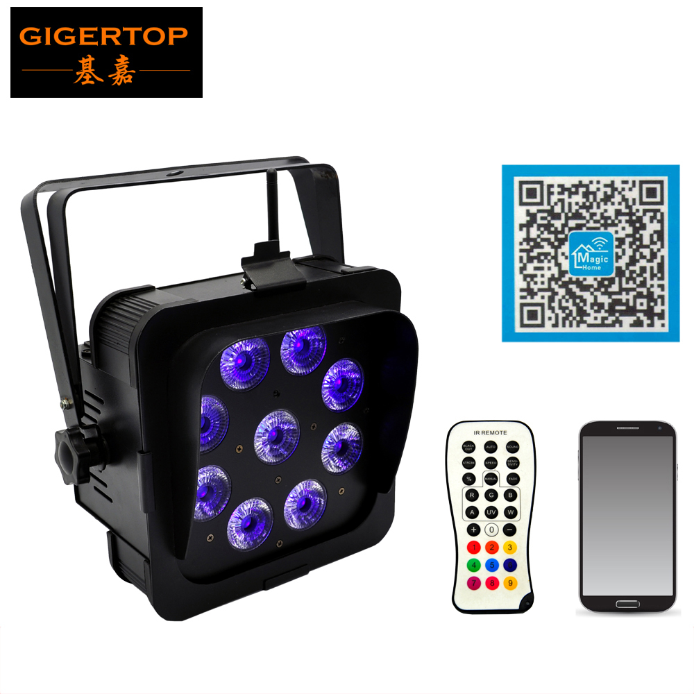 TIPTOP Party LED Par 9x18W RGBWAUV 6in1 LEDs Stage Par Lights Wireless Battery DMX512 Control Sound/Auto Operation Phone App freeshipping 20pcs lot wireless dmx battery powered rgbwap led par remote control led wireless battery uplighter 9x18w 6in1