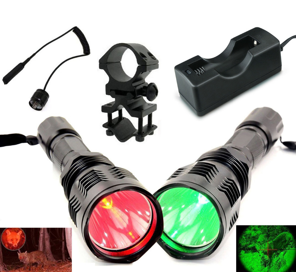 Waterproof LED Flashlight 3 Modes HS-802 350Lumen Cree XRE Led Coyote Hog Hunting Lamp Torch+Tail Switch Barrel Mount+Charger