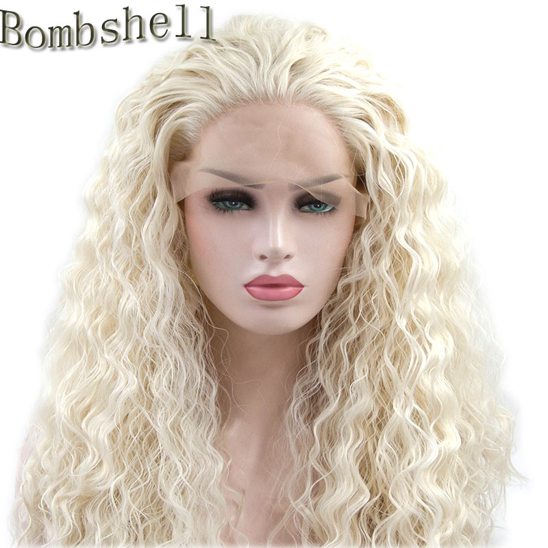 Synthetic None-lacewigs 24 Blonde Curly Daily Hair Women Long Lace Front Synthetic Wig Heat Resistant H793119 Hair Extensions & Wigs