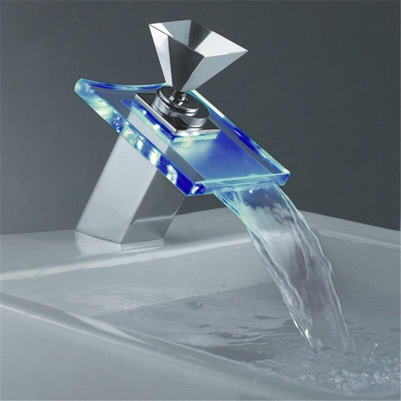 Temperatur Gesteuert Led Wasserhahn Licht Glas Wasserfall Messing