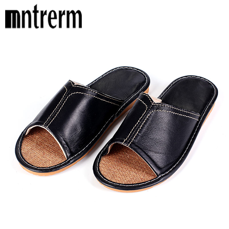 Mntrerm Sheepskin Leather Flat Shoes Men Brown Black 2018 Summer Autumn Slippers Toe British Style Oxford Indoor Shoes For Men