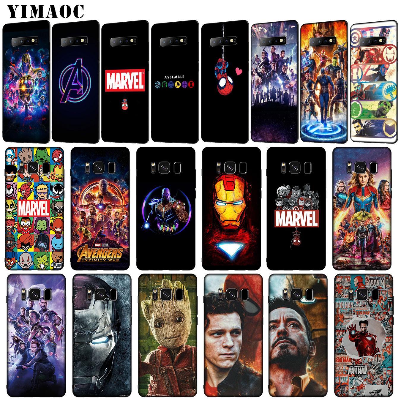 IYICAO Avengers Endgame Marvel Iron Man Thanos logo Soft Silicone Case for Samsung Galaxy S10 S9 S8 Plus S6 S7 Edge S10e E Cover action figure pokemon