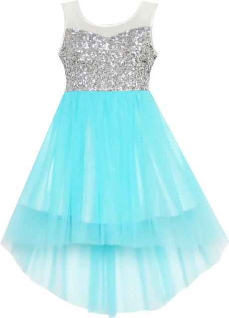 Sunny Fashion roupas infantis menina Azul Lantejoula malha do banquete de casamento Tulle roupa dos miúdos Crianças 7-14 Garota Verão princesa Vestidos