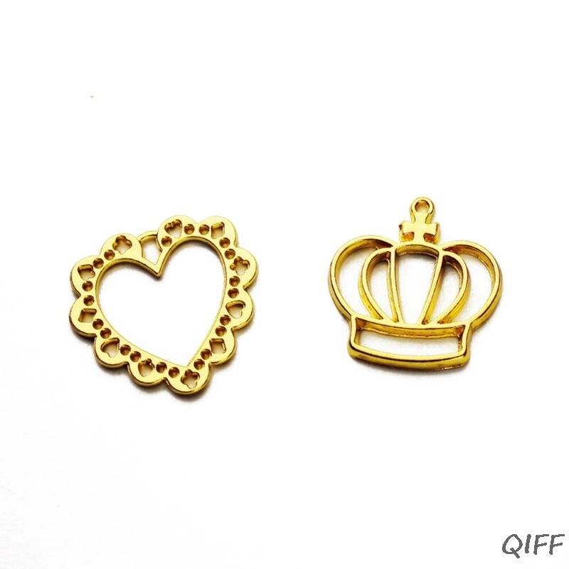 2 pièces couronne coeur pendentif blanc UV résine cadres ouvert lunette réglage fabrication de bijoux