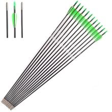 12 pcs Tir À L'arc de Chasse En Fiber De Verre Flèches 30 «Spine700 Avec Vert et Blanc À Palettes OD 6mm pour Arc Classique