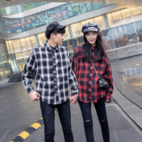 DoreenBow 1PC Couple Plaid Long Batwing Sleeved Cotton Shirts Men And Women Lovers Loose Casueal Outwear