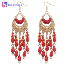 2017 New Fashion 4 Colors Bohemian Fringed Long Section Of Big Beads Pendant Drop Earrings White Black Red Blue