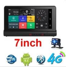 7 дюймов 4 г ADAS удаленного Мониторы Видеорегистраторы для автомобилей Камера зеркало GPS Bluetooth 16 ГБ Android 5.0 Двойной объектив видео Регистраторы тире cam WI-FI